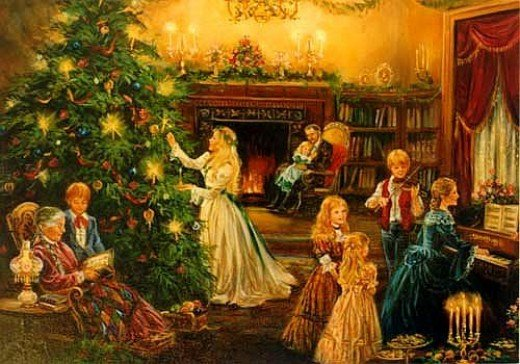 Painting of Family Christmas at Victorian Era