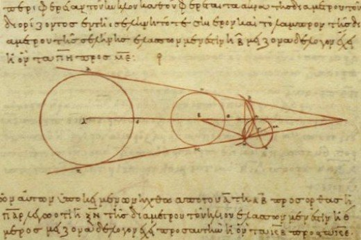 Aristarchus's 3rd century BC calculations on the relative sizes of from left the Sun, Earth and Moon, from a 10th century AD Greek copy. Image Wikipedia