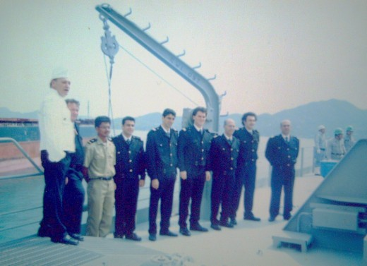 My Greek chief cook (in chef's white uniform) along with Greek and Filipino officers) before our ship's maiden voyage in Mihara city, Hiroshima, Japan (March 30, 2001)---during the 'naming' ceremony of the ship