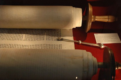 A SEFER TORAH Scroll - opened for liturgical use in a Jewish Synagogue.