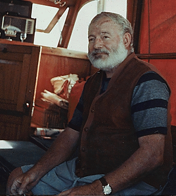 Above is a photo of Ernest Hemingway shortly before his suicide.