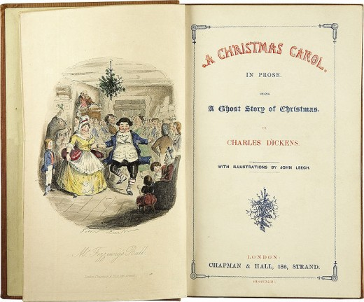 A Christmas Carol by Charles Dickens. First edition frontispiece and title page (1843)