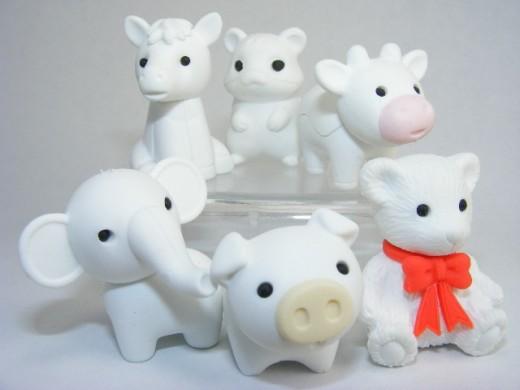 Milky white animal squishies