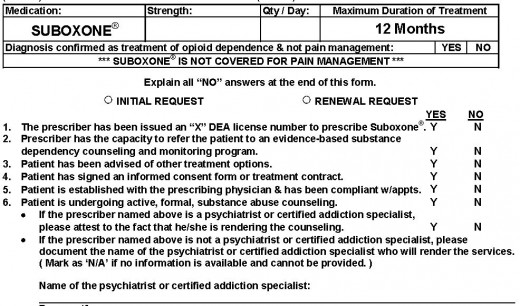 SAMPLE SUBOXONE PRIOR AUTHORIZATION REQUEST
