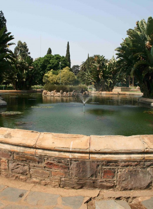 The fish pond which is the focal point of the park.