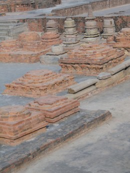 Ruins of ancient Buddhist monastery at Sarnath, India