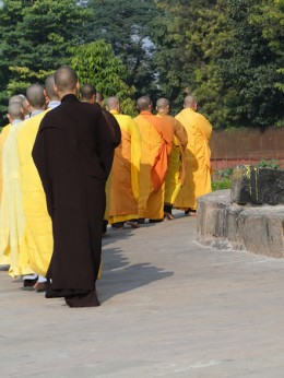 Japanese monks at Dharmeka Stupa, Sarnath, India, Asia