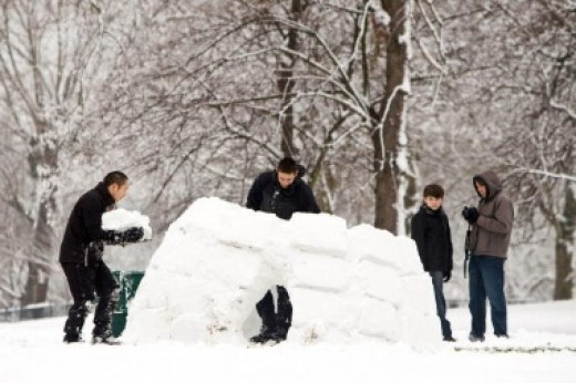 Building a snow fort can be a fun group activity.