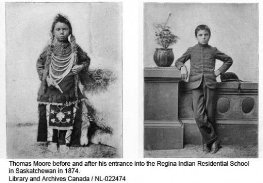 This is a before and after photo of a First Nations child being assimilated in the residential school system.