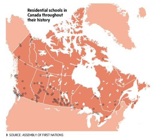 This map shows the nation wide distribution of residential schools in Canada. The attached website tells of the high casualties in these places.