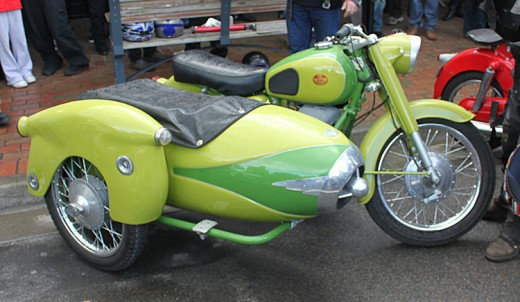 An old Puch with sidecar attached.  Very classy and almost Art Deco!  This was my favorite Motor Bike of the day!