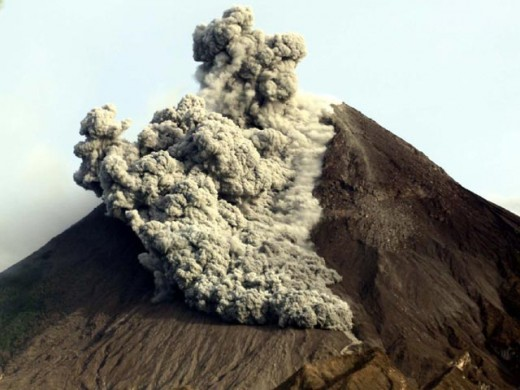 Deadly pyroclastic called Wedhus Gembel emitted by Mt. Merapi.