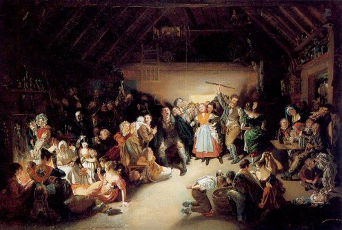 "A typical ""Halloween"" Celebration of the 1800's - NOTE: The artist's depiction of the couples to the left are playing ""Divination Games"" like ""Ouija""."