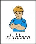 """Stubborn"" flashcard from ABCTeach"