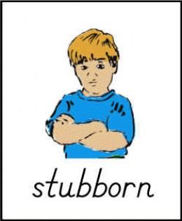 """""""Stubborn"""" flashcard from ABCTeach"""