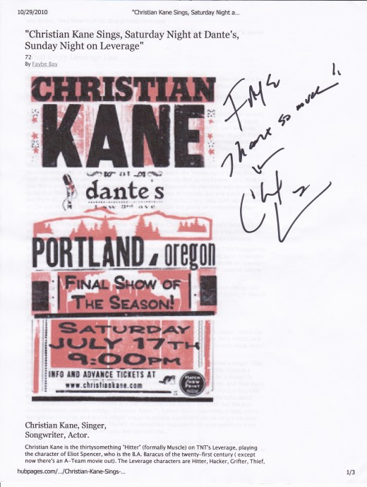 Christian Kane is a really nice guy, through and through. He signed autographs for kids and adults alike. He took time with each person individually.
