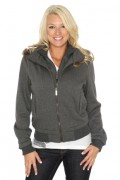 Womens Solid Fleece Zip Jackets