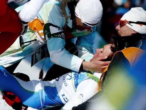 Petra Majdic after final race in olympic games in Vancover 2010 - she caolapsed with borken ribs.