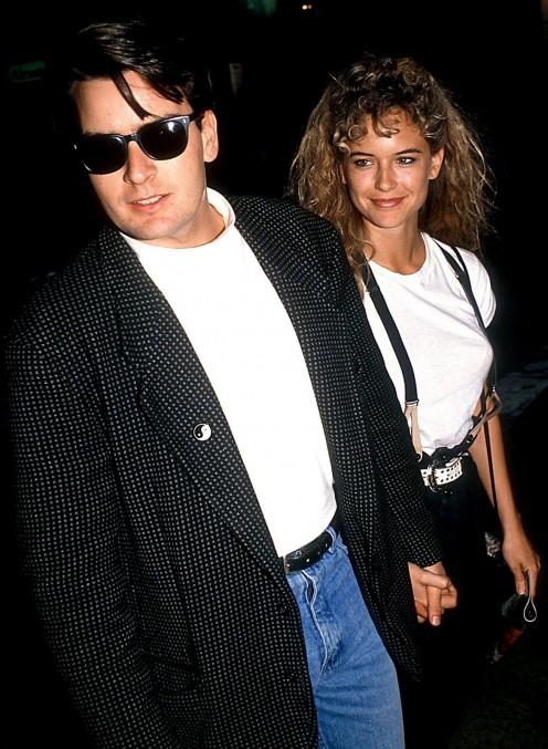 Charlie Sheen and Kelly Preston circa 1990