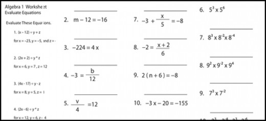 New Blog 3: Algebra Practice Problems