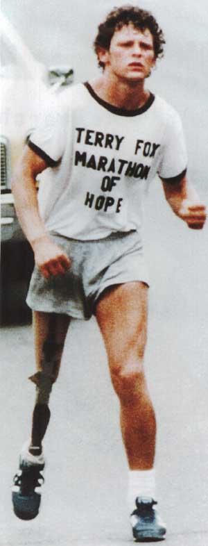 Terry Fox running the Marathon of Hope