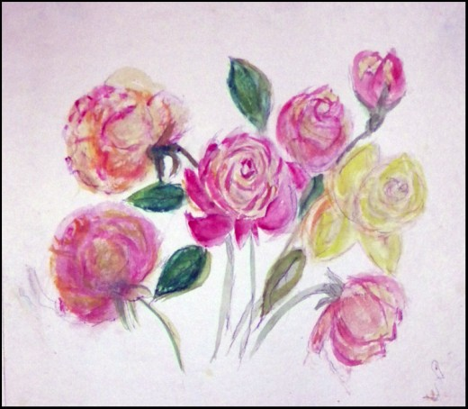 """Roses"". watercolor & pencil  ___ ©Nellieanna Hay"