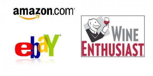 Amazon, Ebay, Wine Enthusiast Logos