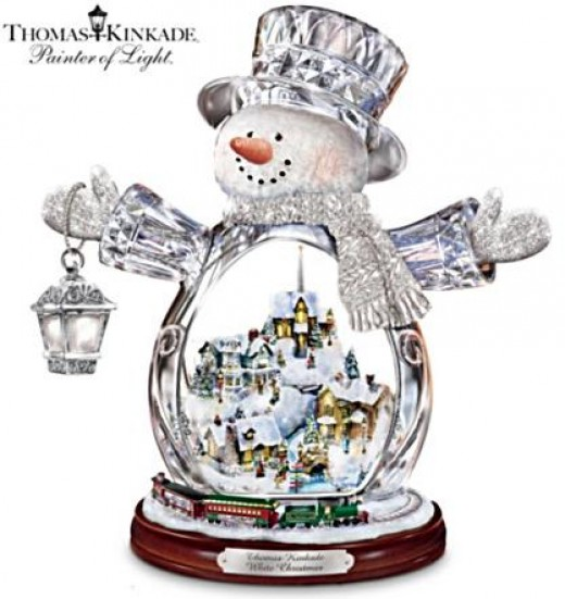 Kinkade Crystal Snowman With Glowing Village & Moving Train