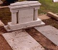 Faulkner's grave in St. Peter's Cemetery in Oxford, Mississippi.  His wife Estelle and stepson Malcolm Franklin are also buried here.