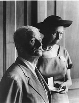 A photo of Faulkner with fellow author, Eudora Welty.