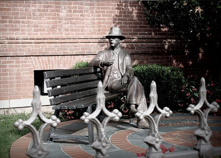 A statue of William Faulkner in Oxford, Mississippi.  His fictional town, Jefferson, was based in many ways on Oxford.