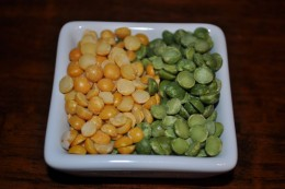 Yellow Split Peas (Left) and Green Split Peas (Right)