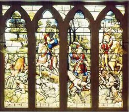 The stained glass window in the billiard room. Image: Melrose House Museum