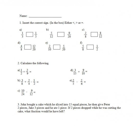 Adding fractions and subtracting fractions worksheet
