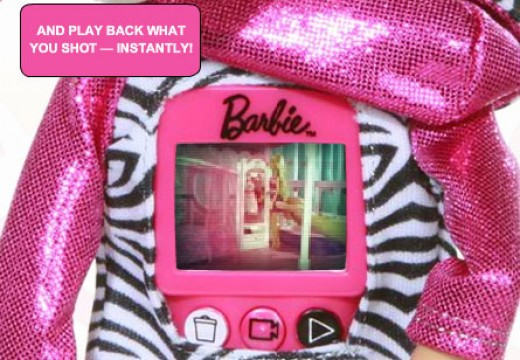 Barbie Video Doll LCD Screen on Back of fashion doll. The three labeled buttons on Barbie's back are intuitive. But the power button doubles as the record button.