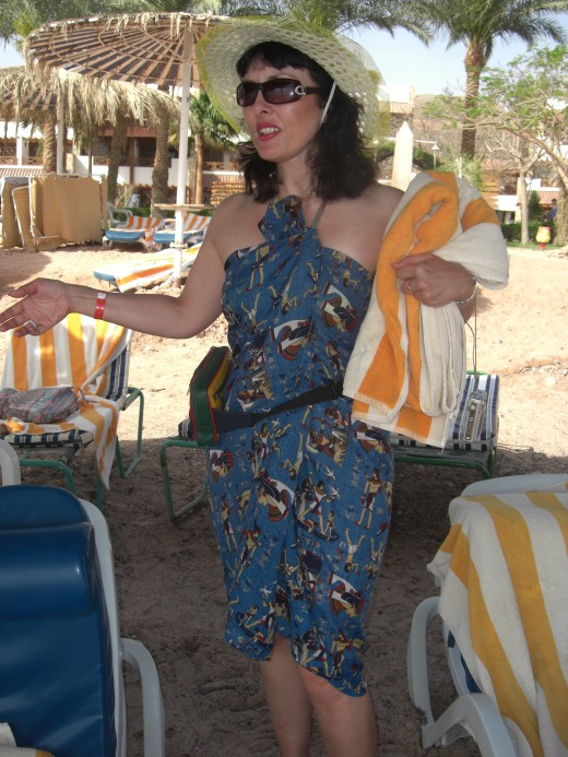 What my sister was wearing when she was refused entry into the restaurant for 'wearing beachwear'.