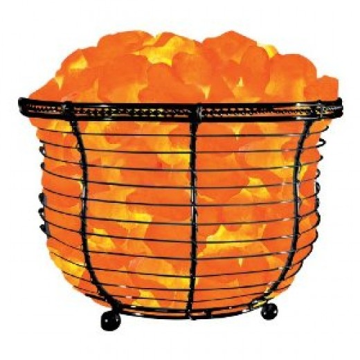 Himalayan Natural Salt Basket Lamp - Light bulb is in the middle of the salt chunks