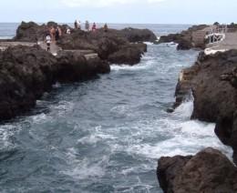 Volcanic swimming pool