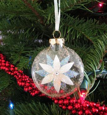 White Poinsettia Ornament from ebornaments.com