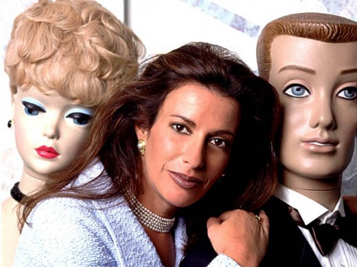 Jill Barad photo with life sized Barbie and Ken
