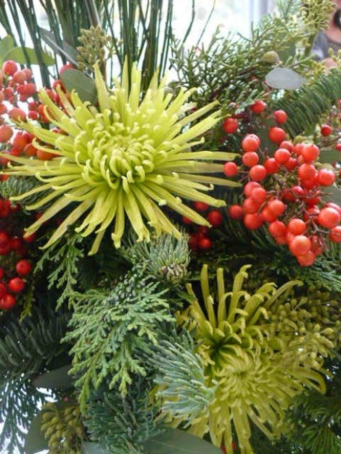 Select flowers that reflect the colors of Christmas. Seen here green mums, Christmas greens and red berries I stole from my friend's yard.