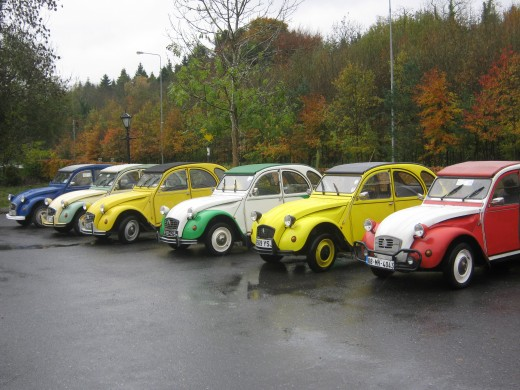 The Irish 2CV line-up.