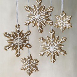 gingerbread snow flake cut outs. Royal icing piped on with cake decorating tools to make a design. Don't forget to make a hole at the top............... before you bake the cookie.