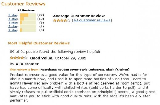 Customer Review - Houdini Wine Opener