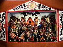 Retablo, made with Wood and beautifully decorated.