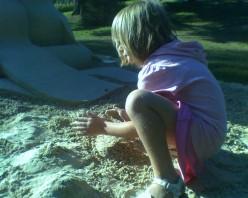 Making a sand sculpture at De Cordova Art Museum's Sculpture Park