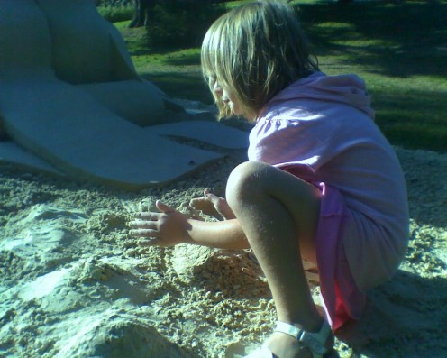 Making a sand sculpture at De Cordova Art Museum's Sculpture Park