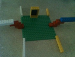 """""""raft"""" full of diving boards and a door made of Legos"""