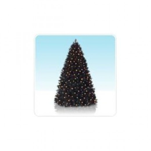 6' Tuxedo Black Artificial Christmas Tree Prelit with Clear Lights