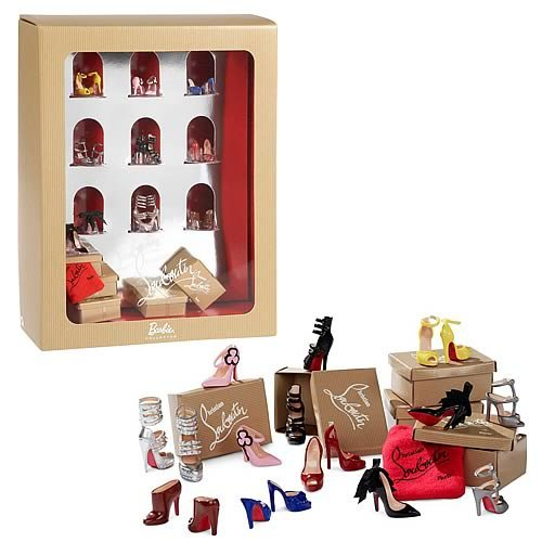 9 pairs of the most stunning Christian Louboutin shoes-- complete with shoe boxes and bags-- to build out your Barbie Dolls' closet. Buy these Christian Louboutin shoes only for Barbie!